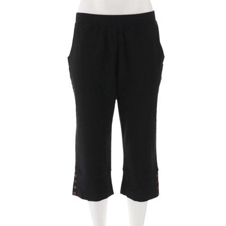 Denim & Co Active Wide Cuff Knit Capri Pants Buttons (Button Cuff Pants)