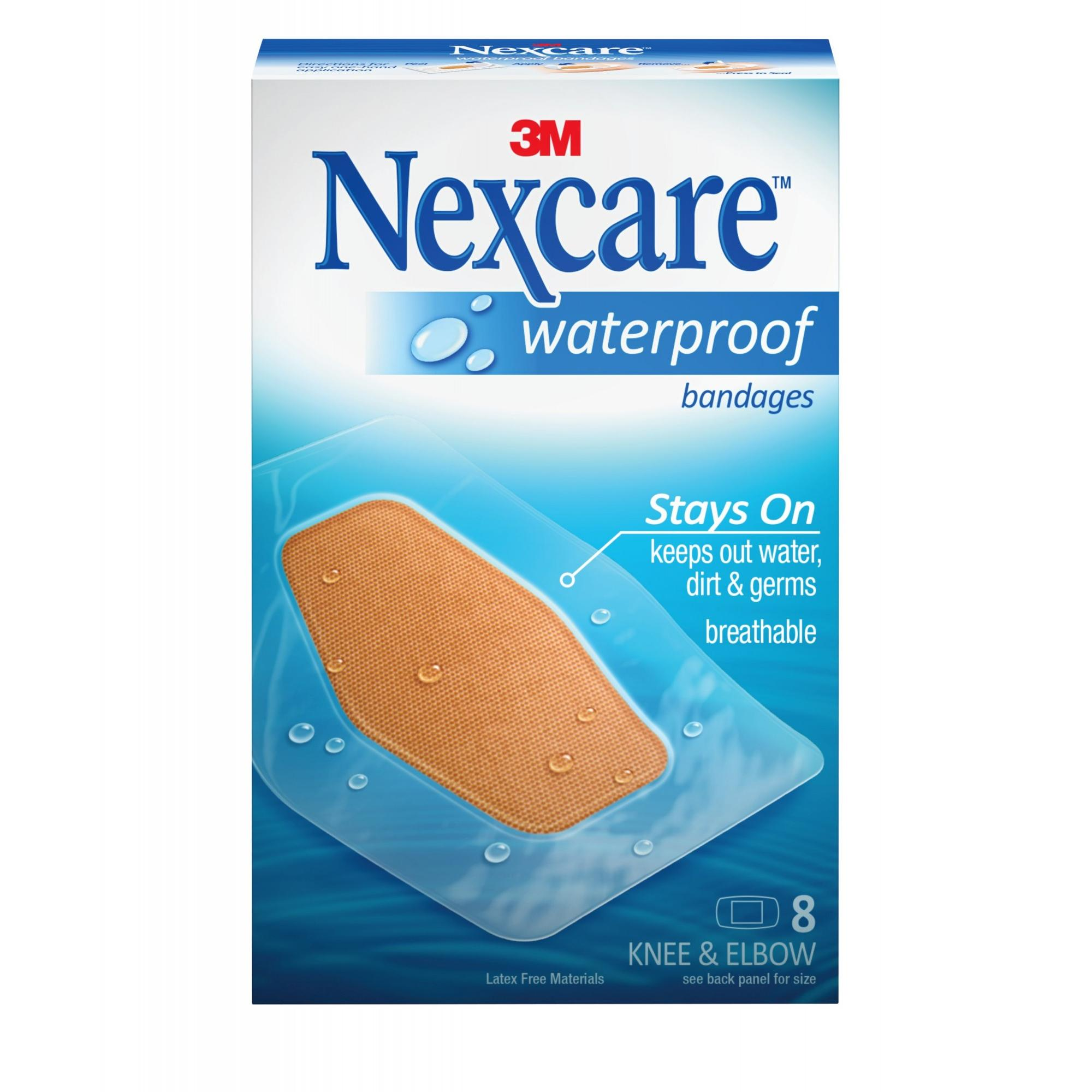 Nexcare Waterproof Bandages, Knee and Elbow, 8 ct.