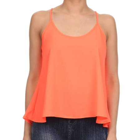 Women's Scoop Neck Chiffon Swing Cropped Tank Top Cami Camisole Blouse,Peach M