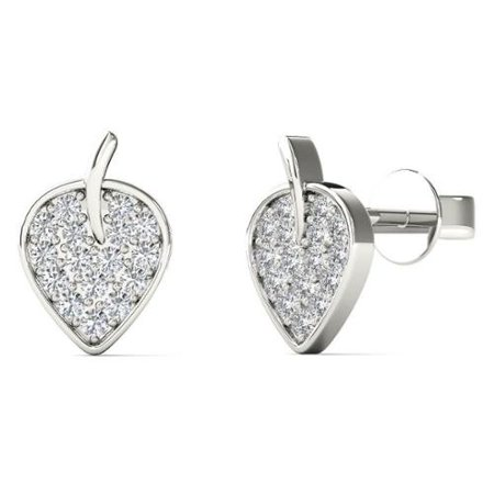 db7f54a9ff8e5 Aalilly - Aalilly 10k White Gold 0.125ct TDW Diamond Leaf Stud ...