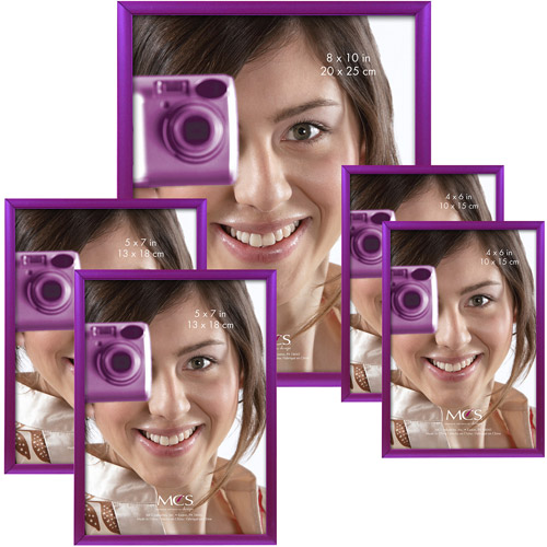 Multi-Purpose Picture Frame with Glass, Purple, Set of 5