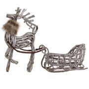 """Set of 2 Eco Country White Wicker Reindeer & Sleigh Christmas Figures 27"""""""