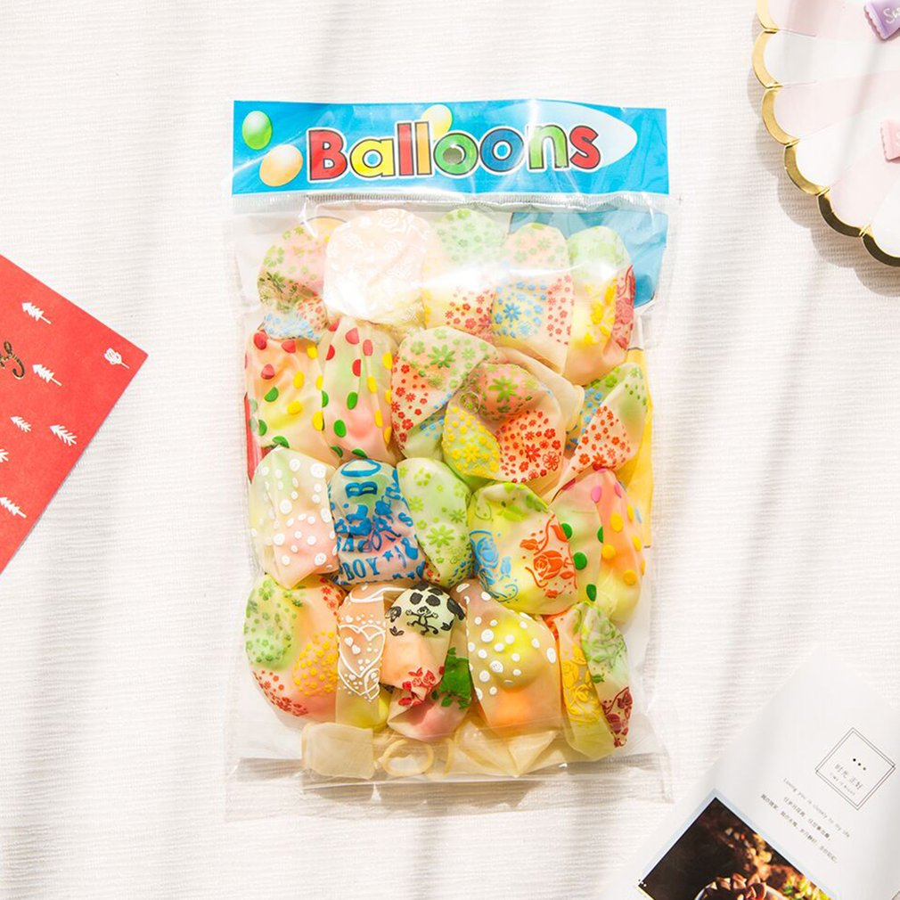 20pcs Small Bell Balloon Random Color Funny Colorful Printed Balloon Birthday Party Festival Wedding Decoration Supplies