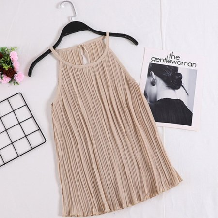 Women Chiffon Tops Solid Color Sleeveless Ruched Camisole