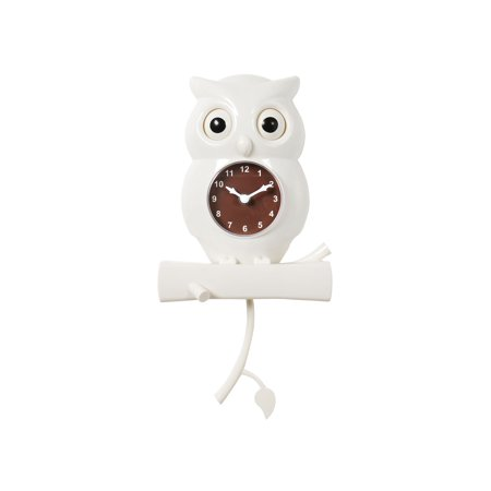 What On Earth White Owl Pendulum Wall Clock - Bird with Moving Eyes Battery Powered (Eye Pendulum)