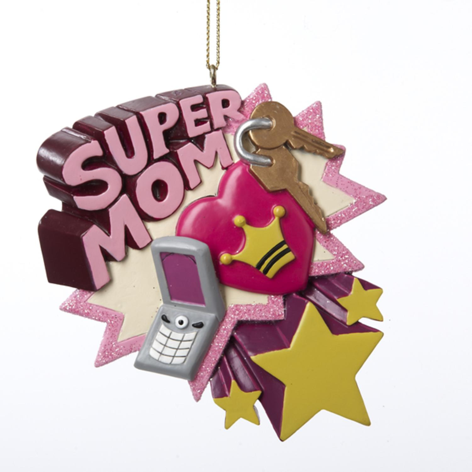 Club Pack of 12 Tween Christmas Pink Super Mom Holiday Ornaments 3.75""