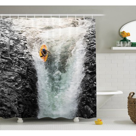 Natural Waterfall Decor  Photo Of Man Kayaking In Canoe Flowing Wild Water Nature Extreme Outdoors Art Print, Bathroom Accessories, 69W X 84L Inches Extra Long, By