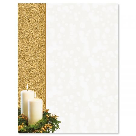 Gold Candle Christmas Letter Papers - Set of 25 Christmas stationery papers are 8 1/2