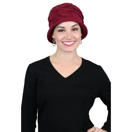19fed03492b1a Fleece Flower Cloche Hat for Women Cancer Headwear Chemo Ladies Head  Coverings (Burgundy) - Walmart.com