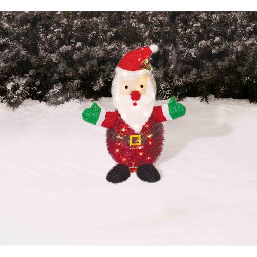 "Holiday Time Christmas Decor 28"" Tinsel Santa Yard Light Sculpture"