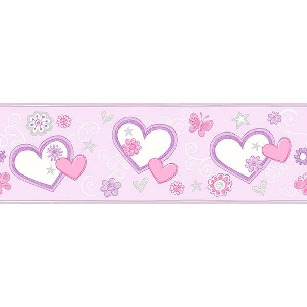 Brewster Heart Felt Doodle Lilac Border