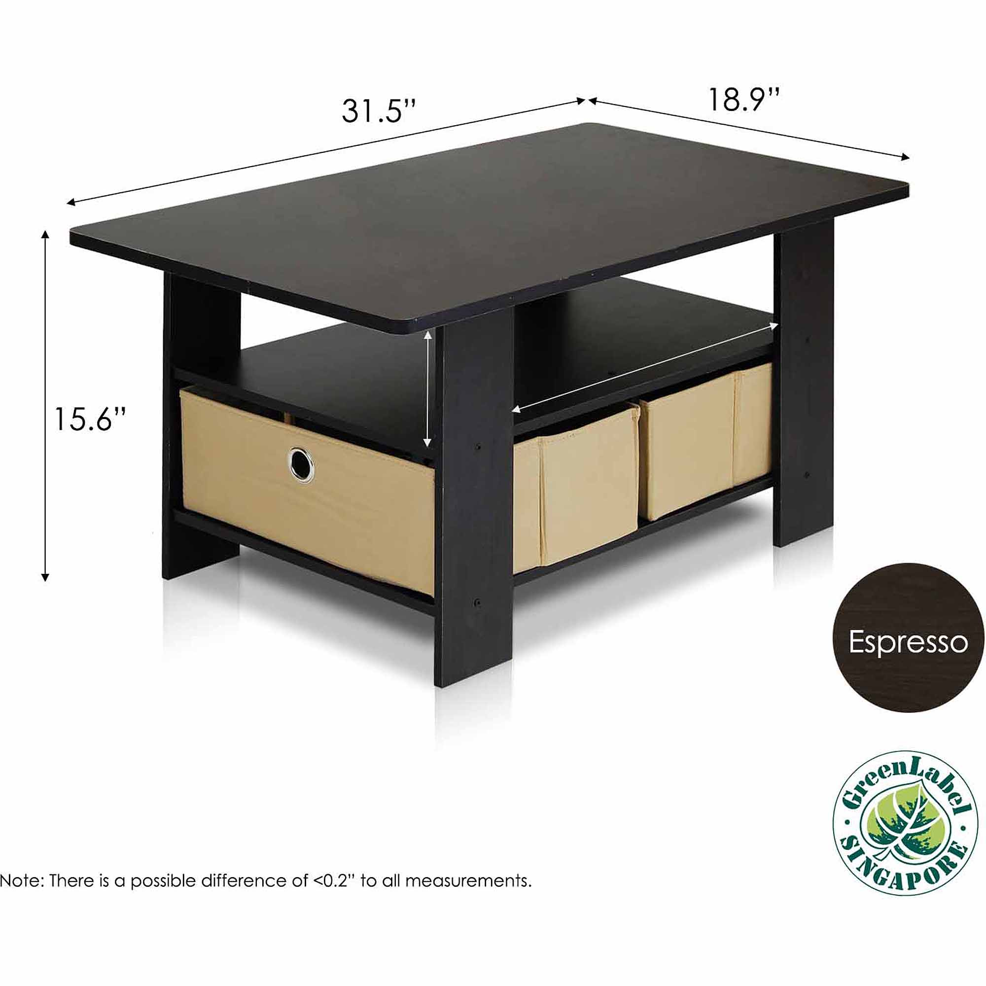 Petite Coffee Table With Foldable Bin Drawer, Multiple Colors Image 6 Of 8