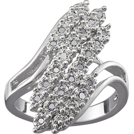 Rhodium Plated Diamond Accent 3 Row Bypass Ring