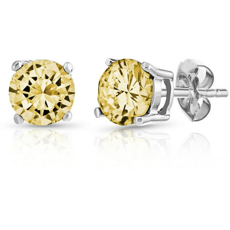 PORI Jewelers Round Citrine Gemstone Sterling Silver Stud Earrings