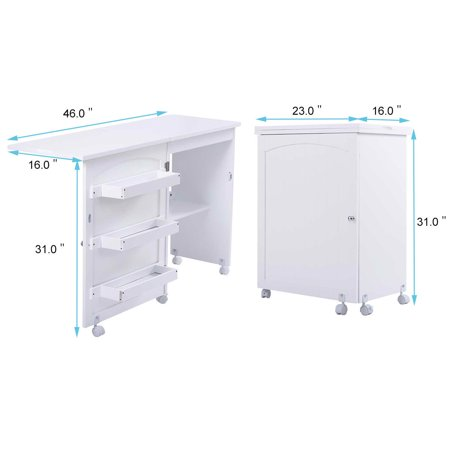 Costway Folding Swing Craft Table Shelves Storage Cabinet Home W/ Wheels - image 6 of 10
