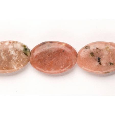 Gemstone Oval Pendant Bead - Flat Rhodonite Oval Beads Semi Precious Gemstones Size: 25x17mm Crystal Energy Stone Healing Power for Jewelry Making