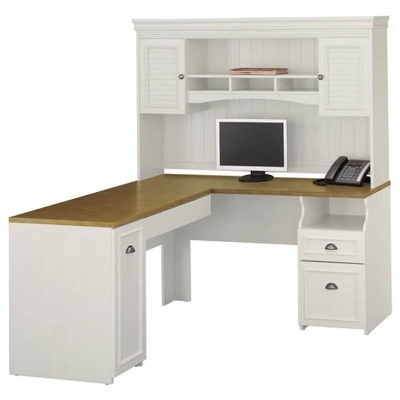 "Bush Fairview 60"" L-Shape Computer Desk with Hutch in Antique White"