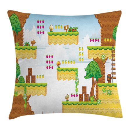 Video Games Throw Pillow Cushion Cover, Cartoon Retro Computer Graphic Kids  Western Design Box Cloud Fun Adventure 90's, Decorative Square Accent