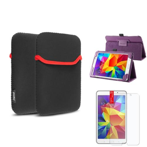 Insten Purple Leather Stand Case+Matte Protector/Sleeve For Samsung Galaxy Tab 4 7.0 7 T230