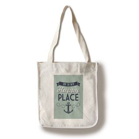 Ocean Park, Maine - OP is My Happy Place - Lantern Press Poster (100% Cotton Tote Bag - Reusable)