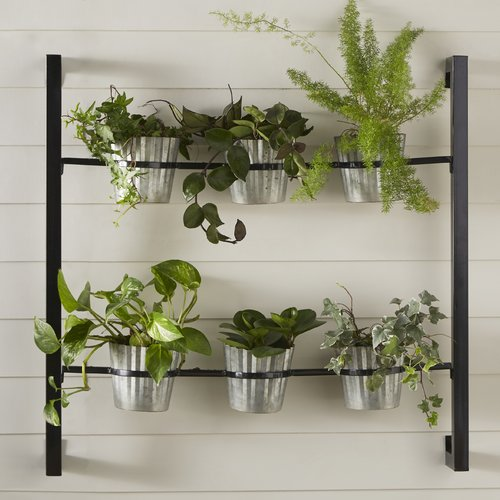 Kate and Laurel 6-Piece Groves Metal Wall Planter Set by Overstock