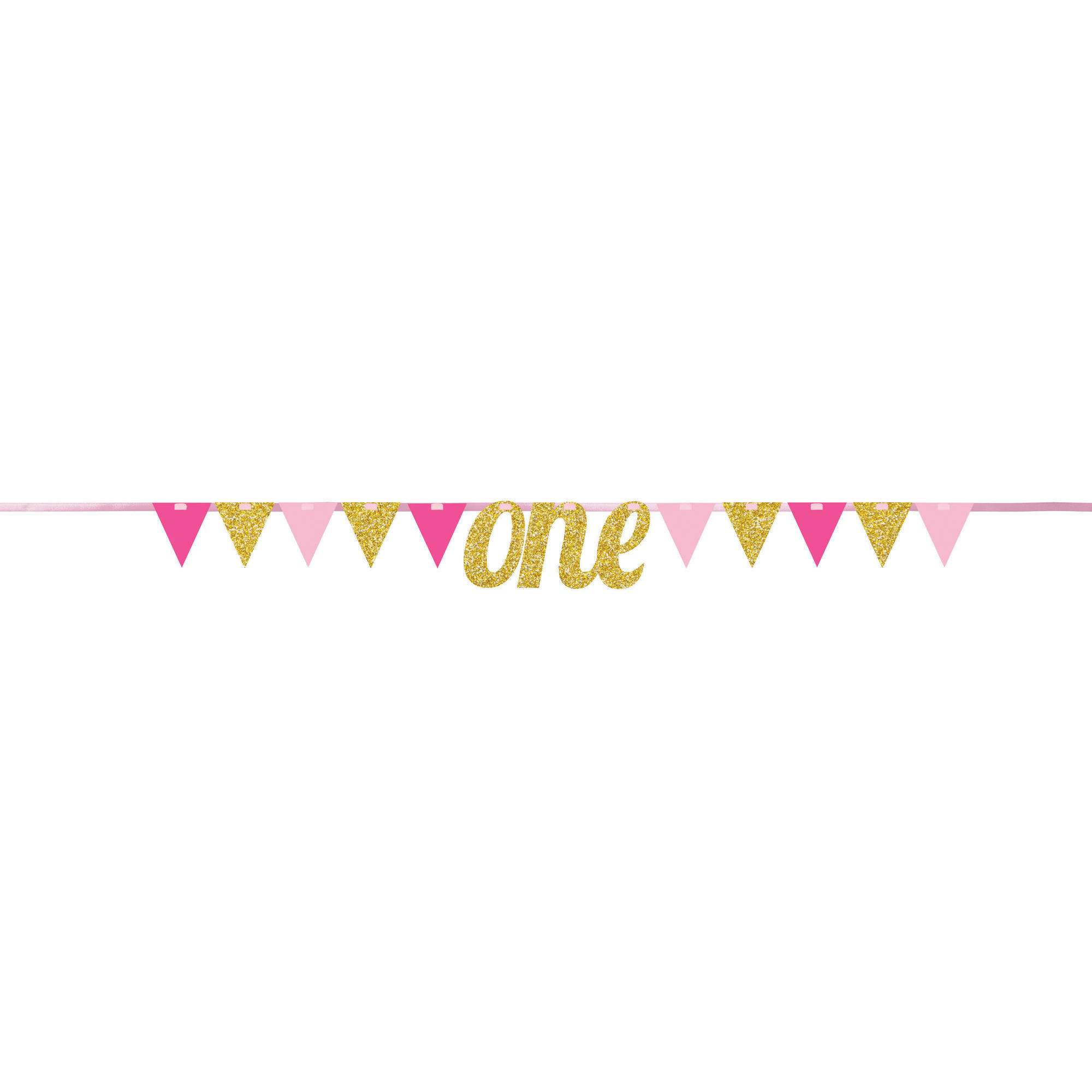 1st birthday girl pennant banner each