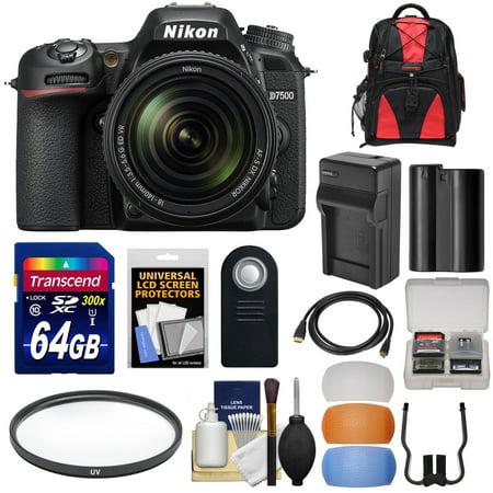 Nikon D7500 Wi-Fi 4K Digital SLR Camera & 18-140mm VR DX Lens with 64GB Card + Battery & Charger + Backpack + Filter + Kit