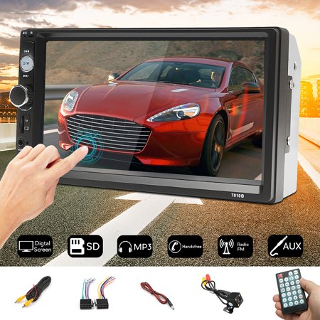 7 Inch 2 Din HD1080P Car MP5 Player Stereo bluetooth MP5 Player Digital Touchscreen Radio FM Aux + Waterproof HD Night Light Rearview