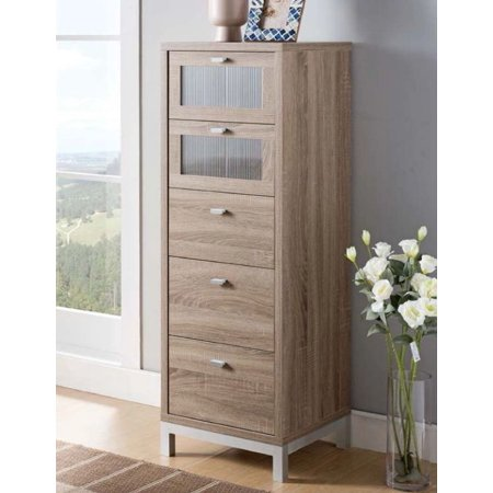 Narrow 5-Drawer Chest in Dark Taupe Finish