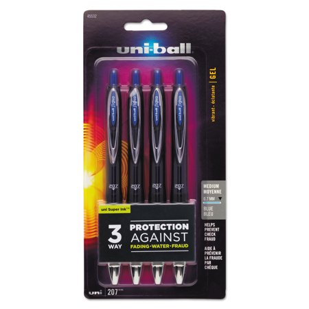 uni-ball Signo 207 Retractable Gel Pen, Blue Ink, 0.7mm, 4/Pack