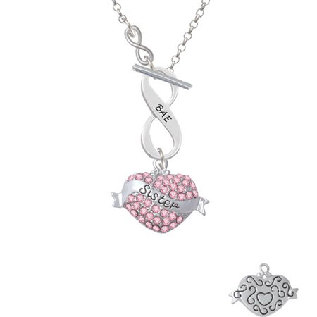 Sister Banner On Pink Crystal Heart   To Infinity Bae Toggle Necklace