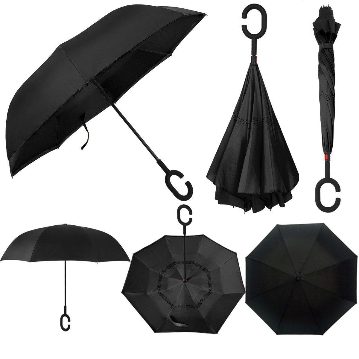 Double Layer Inverted Inverted Umbrella Is Light And Sturdy Dark Forest Gloomy Scene Trees Big Reverse Umbrella And Windproof Umbrella Edge Night Ref