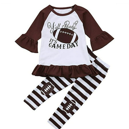 New Infant Baby Girl Long Sleeve Football Clothes Outfits Letter Printed Ruffles Tops + Striped Long Pants - Football Baby
