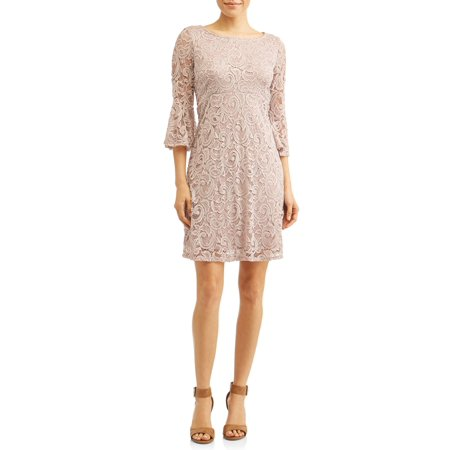 - Women's Lace A-Line Empire Dress with Bell Sleeves