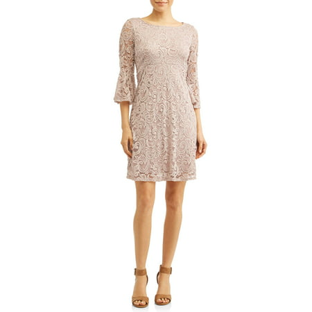 Women's Lace A-Line Empire Dress with Bell Sleeves