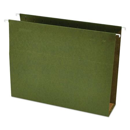 Box Bottom Hanging File Folders - Universal Three Inch Box Bottom Pressboard Hanging Folder, Letter, Standard Green, 25/Box