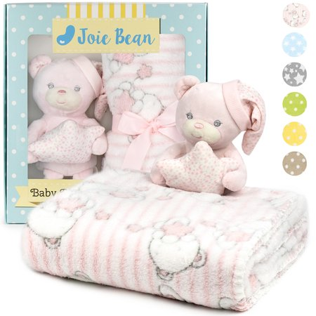 Green Security Blanket (JOIE BEAN Baby Blanket and Stuffed Animal Set for Boys, Girls | 2 Piece Plush Toy and Soft Fleece Security Throw Blanket for Baby, Newborn | Perfect Baby Shower Gift)