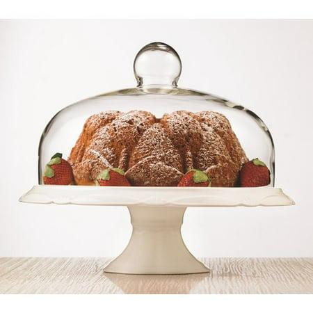 Bianco Pedestal Porcelain Cake Plate and Dome
