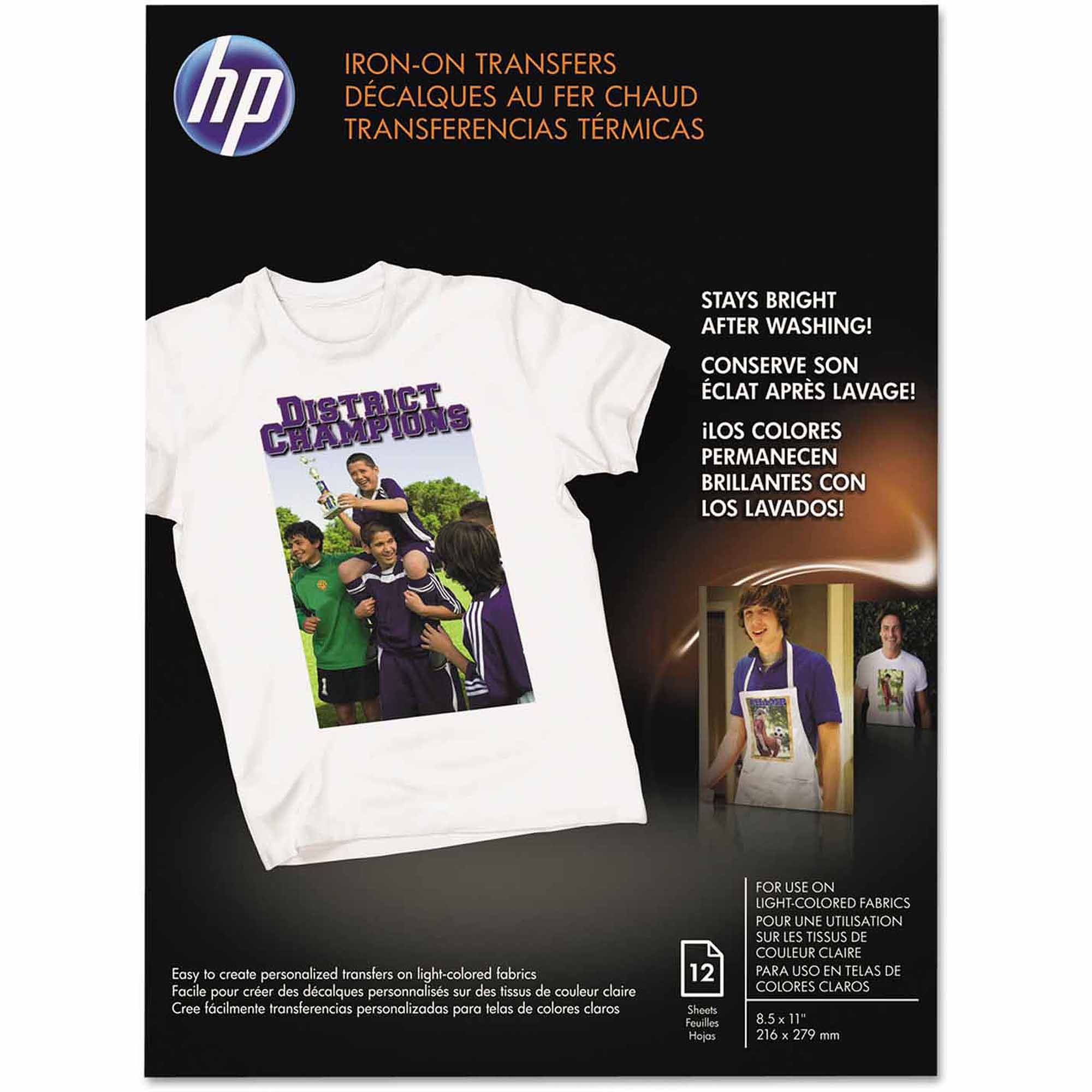 """HP Iron-On Transfers, 8.5"""" x 11"""", White, 12-Pack"""