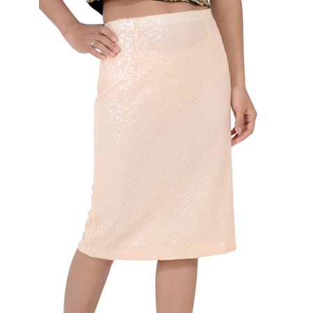 Anna-Kaci Fashion Womens Peach Sequin High Waisted Knee Length Casual Pencil