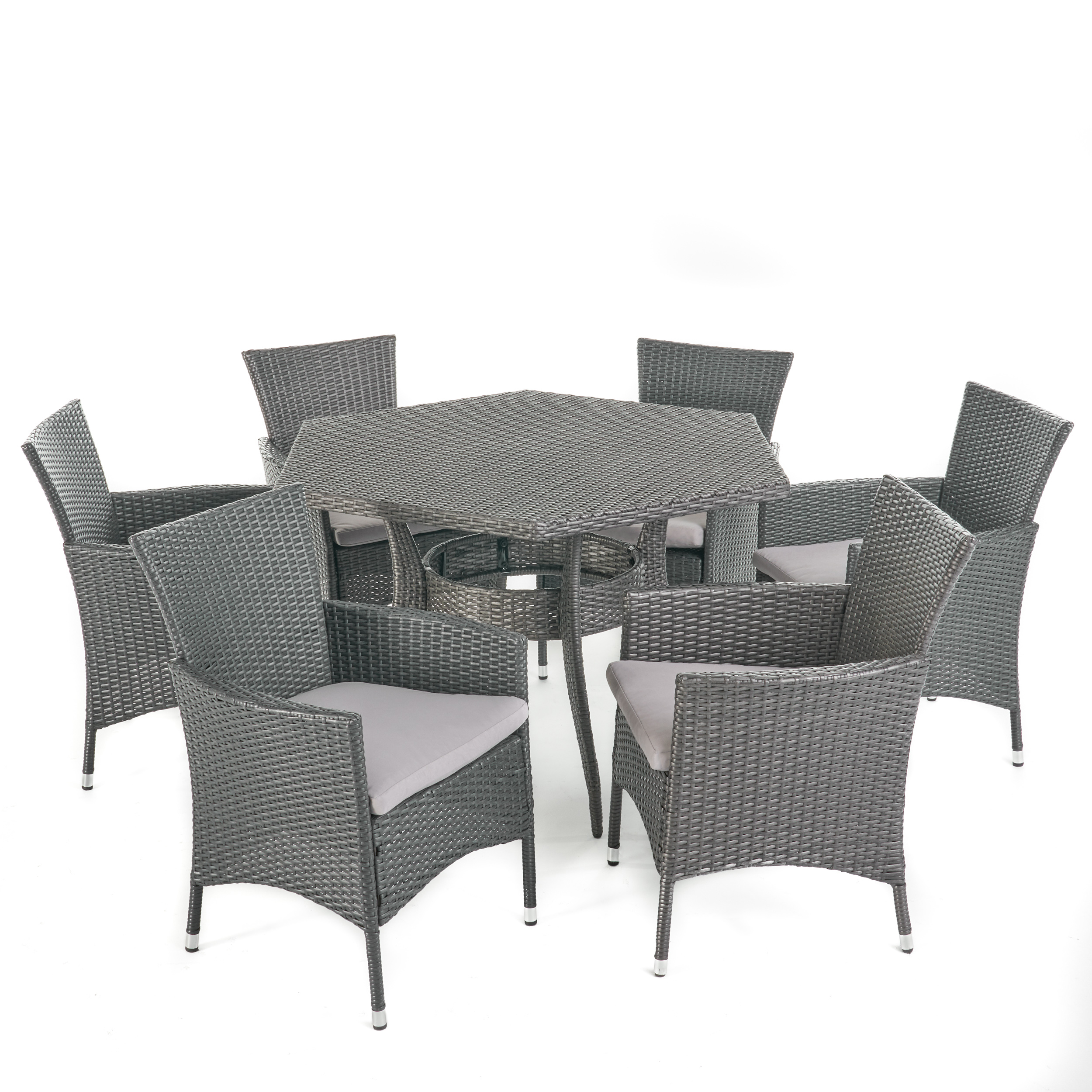Delilah Outdoor 7 Piece Wicker Hexagon Dining Set With