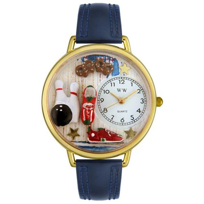 Whimsical Watches G0820005 Bowling Navy Blue Leather And Goldtone Watch