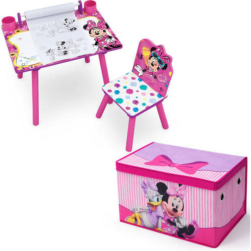 Disney Minnie Mouse Art Desk withFabric Toy Box Playroom Value Bundle