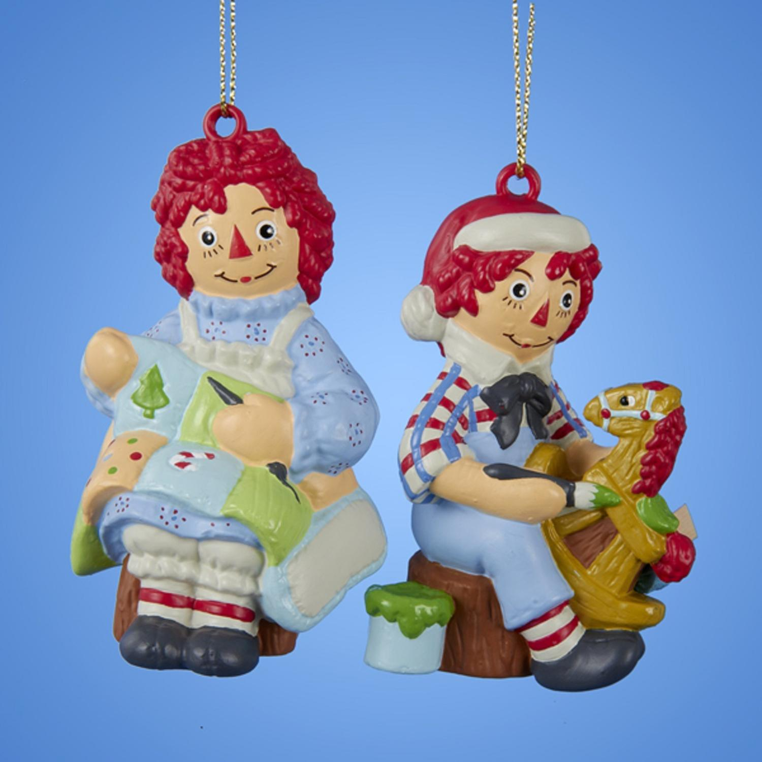 KSA Club Pack of 24 Raggedy Ann and Andy Christmas Orname...