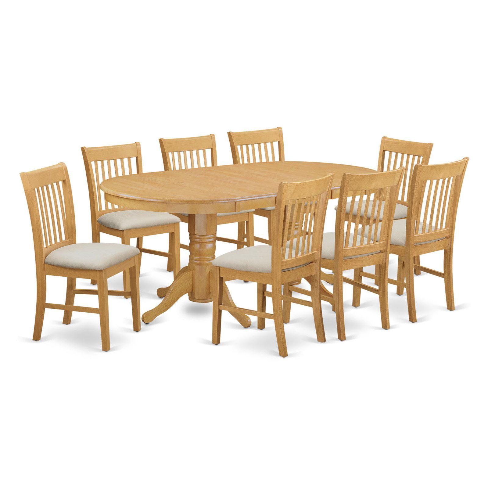 East West Furniture Vancouver 9 Piece Slat Back Dining Table Set
