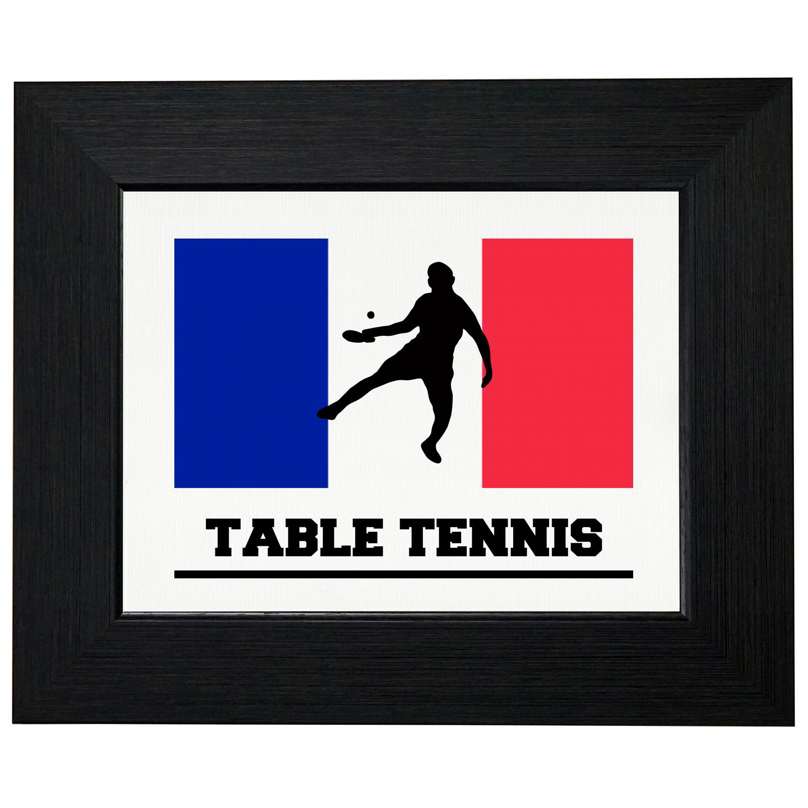 France Olympic Ping Pong Flag Silhouette Framed Print Poster Wall or Desk Mount Options by Royal Prints