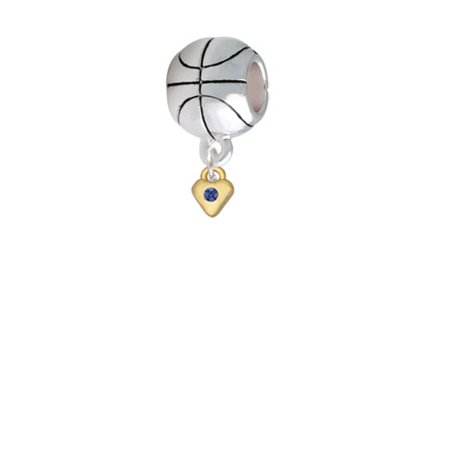 Mini Blue Birthday Crystal Gold Tone Heart - Basketball Charm (Gold Tone Basketball)