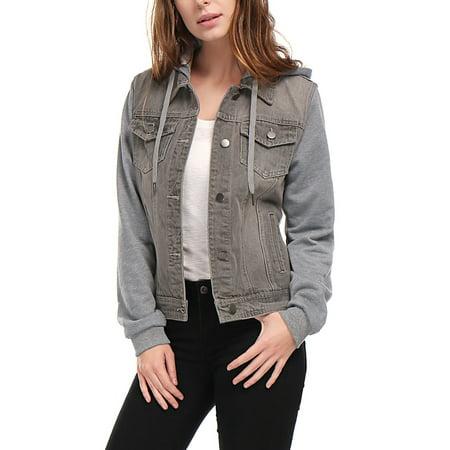 Women's Layered Long Sleeves Hooded Denim Jacket w Pockets Coat Outerwear Gray S (US (Denim Long Sleeve Coat)