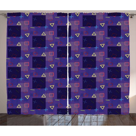 Hipster Curtains 2 Panels Set, Memphis Style Geometrical and Colorful  Shapes Mathematics Science School Theme, Window Drapes for Living Room  Bedroom,