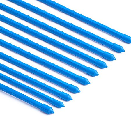 Mr.Garden stainless Garden Plant Stakes Post for Trees, Cucumber, Fences, Beans, Blue Plastic Coated Steel Tube Stakes, Dia 8MM x H 1.2M 10 Pack ()